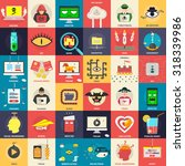 set of flat icons ... | Shutterstock .eps vector #318339986