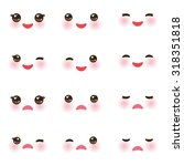 kawaii funny muzzle with pink... | Shutterstock .eps vector #318351818