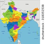 colorful india political map... | Shutterstock .eps vector #318352538