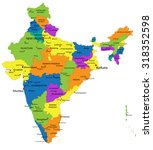 colorful india political map... | Shutterstock .eps vector #318352598