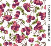 seamless pattern cherry. vector ... | Shutterstock .eps vector #318352973