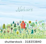 nature background with trees... | Shutterstock .eps vector #318353840