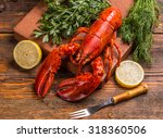 Freshly Cooked Lobsters With...