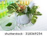 herbs in mortar  test tubes and ... | Shutterstock . vector #318369254