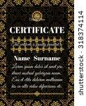 certificate template. golden... | Shutterstock .eps vector #318374114