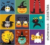 halloween cartoon set isolated... | Shutterstock .eps vector #318387686