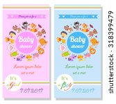 baby shower cards with cute... | Shutterstock .eps vector #318399479