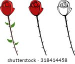 Set Of Red Graphic Roses With...