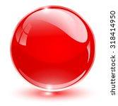 glass sphere  red vector ball.  | Shutterstock .eps vector #318414950