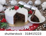 Christmas Cake And Slice With...