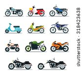 Motorcycle Types Objects Icons...