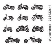 motorcycle types objects icons... | Shutterstock .eps vector #318423644