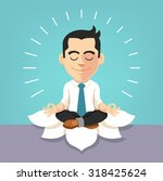 Businessman Doing Yoga. Vector...