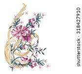 decorative flowers with barocco ... | Shutterstock .eps vector #318427910
