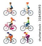 bicycle riders  man  woman ... | Shutterstock .eps vector #318430493