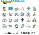 Trendy flat line icon pack for designers and developers. Icons for business, office, company information and services, communication and support, for websites and mobile websites and apps.  | Shutterstock vector #318432110