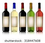 colorful wine bottle on white... | Shutterstock .eps vector #318447608