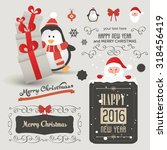 set of christmas ornaments and... | Shutterstock .eps vector #318456419