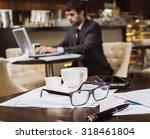 financial chart near dollars... | Shutterstock . vector #318461804