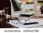 financial chart near dollars... | Shutterstock . vector #318462788