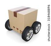 package on wheel   shipment... | Shutterstock . vector #318468896