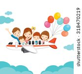family happy on airplane ... | Shutterstock .eps vector #318470219