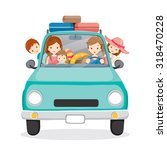 family on car driving to travel ... | Shutterstock .eps vector #318470228
