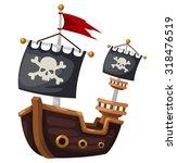 Pirate Ship Vector Illustration