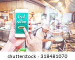 hand holding mobile with order... | Shutterstock . vector #318481070