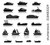 ship boat icons | Shutterstock .eps vector #318483329