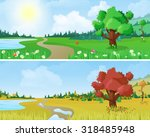 tree on scenic landscape lake... | Shutterstock .eps vector #318485948