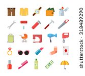 Flat creative style modern misc lifestyle clothing tools infographic vector icon set. Shorts sweater watch wallet lighter wrench hummer pram sewing machine lipstick ring. Life style icons collection.