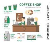 coffee shop infographic flat... | Shutterstock .eps vector #318494894