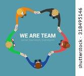 friendly team circle hands...   Shutterstock .eps vector #318495146