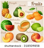 set of food icons. fruits....