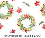 watercolor christmas wreath...   Shutterstock . vector #318511700