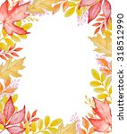 watercolor floral frame with... | Shutterstock . vector #318512990