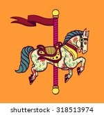cartoon carousel horse  funfair ... | Shutterstock .eps vector #318513974