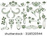 Vector set flower vignette  on different versions for decoration and design