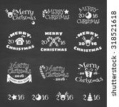 christmas vector set   labels ... | Shutterstock .eps vector #318521618