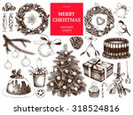 vintage christmas decoration... | Shutterstock .eps vector #318524816