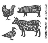 farm animals icon set. hen  cow ... | Shutterstock .eps vector #318528860