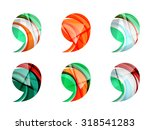 set of abstract comma icon ...