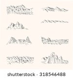 set of mountain drawings | Shutterstock .eps vector #318546488