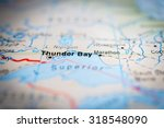 Map view of Thunder Bay, Canada. (vignette)