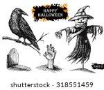 Vector Hand Drawn Halloween Set....