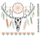 ethnic deer skull with big...   Shutterstock .eps vector #318552509