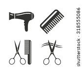 hairdresser icons. scissors cut ... | Shutterstock .eps vector #318555086