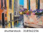 Oil Painting  Canal In Venice ...