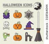 stylish halloween set of badges ...   Shutterstock .eps vector #318564044